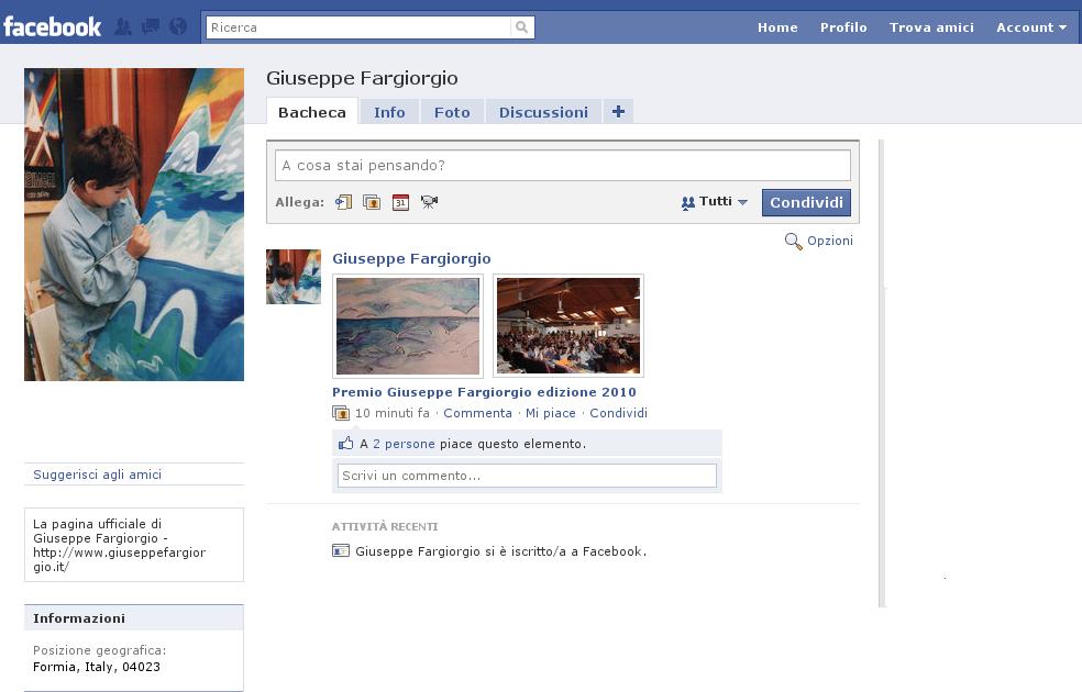 La pagina ufficiale di Giuseppe Fargiorgio su Facebook